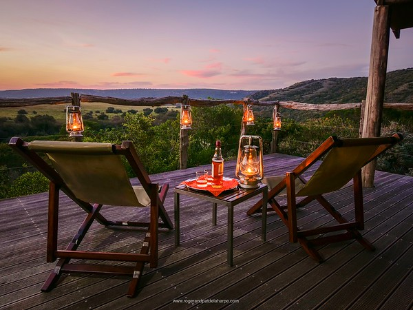 Sundowners on our deck at Hillsnek Safari Camp in the Eastern Cape.