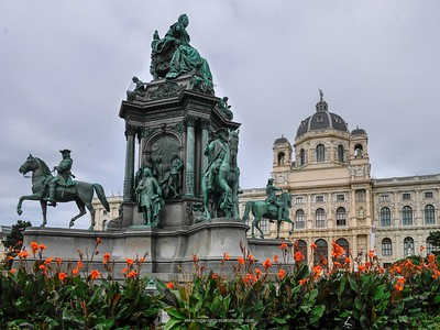 Maria-Theresien Monument with the Natural History Museum in the background. Vienna. Austria