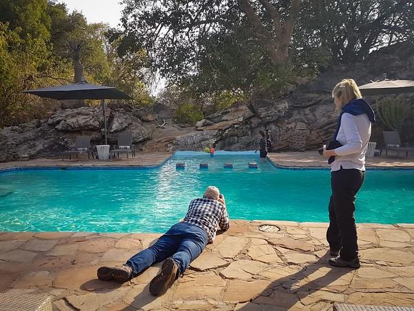 Photographing poolside fun at Tuli Lodge in Botswana.