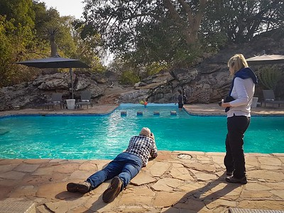 Photographing poolside fun at Tuli Lodge in Botswana.
