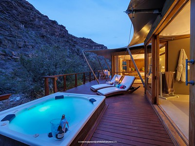 Tented suite at Dwyka Camp at Sanbona Wildlife Reserve in the Karoo, South Africa