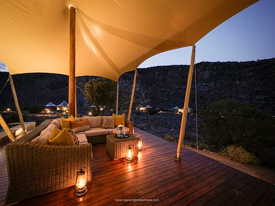 The boma deck at Dwyka Camp at Sanbona Wildlife Reserve in the Little Karoo, South Africa.