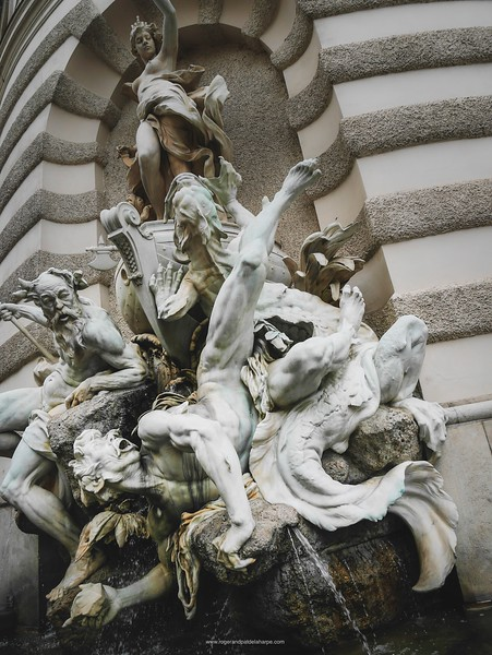 Detail of Statue on the side of The Hofburg - History Museum. Vienna. Austria.