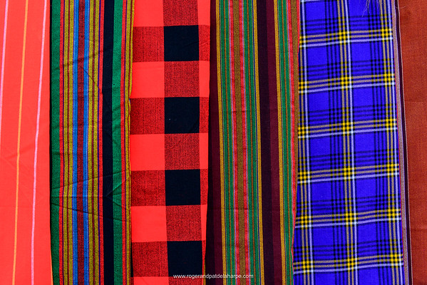 Detail of Maasai or Masai robes or shuka Kenya