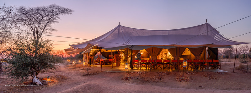 Kwihala Camp dining and lounge area. Ruaha National Park. Tanzania