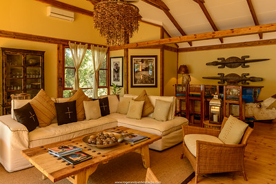 The lounge at the Dog House at Tongabezi  Lodge. Victoria Falls. Livingstone. Zambia