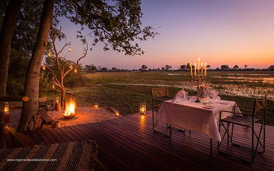 Tented accommodation at Macatoo Camp. African Horseback Safaris. Okavango Delta. Botswana