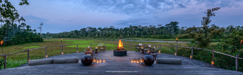 Lango Camp deck. Lango Bai. Odzala-Kokoua National Park. Cuvette-Ouest Region. Republic of the Congo