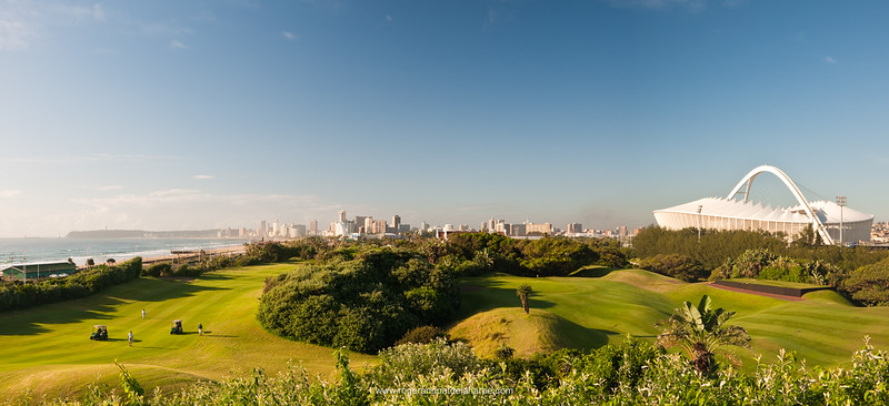 Moses Mabhida Stadium viewed from the Durban Country Club Golf Course. Durban. KwaZulu Natal. South Africa.