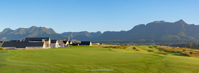4th hole at Kingswood Golf Estate with Outeniqua mountains in the background. George. Garden Route, Western Cape. South Africa