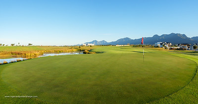 1st hole at Kingswood Golf Estate with Outeniqua mountains in the background. George. Garden Route, Western Cape. South Africa