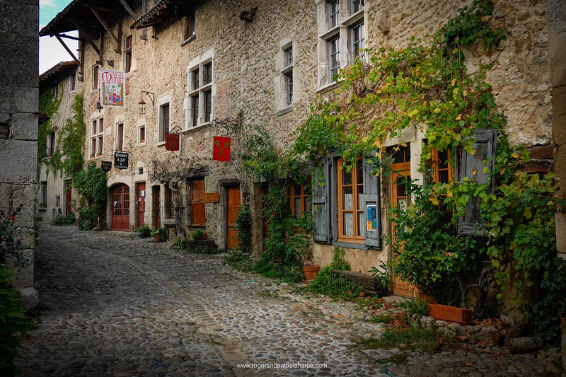 We stayed right here. Our room is just behind the sigh in the upper left of the pic. Pérouges, a medieval village in France.