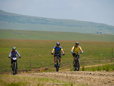 Mountain biking en route to the Kaalvoed Vrou Momumant. Free State. South Africa