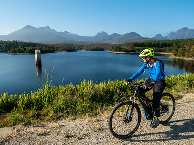 Image No: GM5R309078 eBiking (Mountain Biking) at Garden Route Dam. George. Western Cape. South Africa
