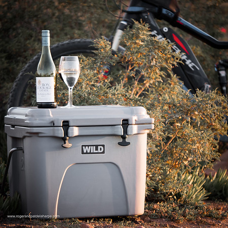 Wild Cooler coolbox and Haibike SDURO FullNine RX eBike (mountain bike). Van Wyksdorp. Western Cape. South Africa