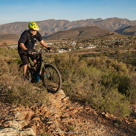 Image No: GM5R292644 eBiking (mountain biking) on the Haibike SDURO FullNine RX ebike, (mountain bike) with the Riviersonderend Mountains in the background. McGregor. Western Cape. South Africa