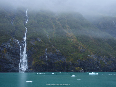Waterfall near Surprise Glacier, Surprise Inlet, Harriman Fiord. Prince William Sound. Near Whittier. Alaska. United States of America.