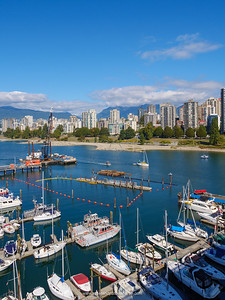 View of Burrard Civic Marina and English Bay. Vancouver. British Columbia. Canada.