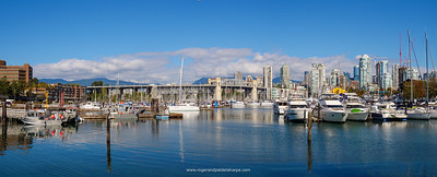 View of marinas and Granville Bridge. Vancouver. British Columbia. Canada.