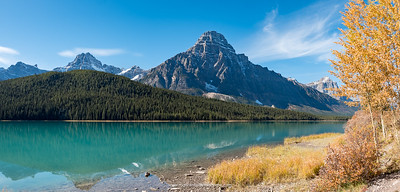Mount Chephren and Waterfowl Lake scenery Icefield Parkway (Highway). Alberta. Canada.