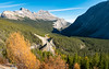 Views of the Icefield Parkway (Highway) and Cirrus Mountain. Alberta. Canada.