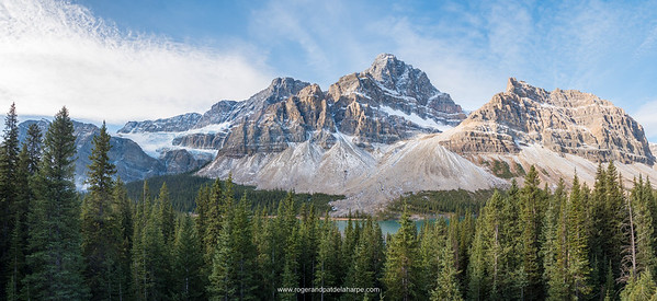 Mountain scenery at Bow Lake and Crowfoot Mountain. Icefield Parkway (Highway). Alberta. Canada.
