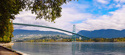 The Lions Gate Bridge over the first narrows of Burrard Inlet. Vancouver. British Columbia. Canada.