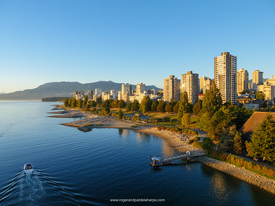 View of English Bay shoreline. Vancouver. British Columbia. Canada.