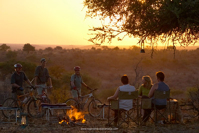 Wilderness camp on Mountain Biking Safari at Mashatu Game Reserve. Northern Tuli Game Reserve. Botswana