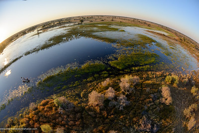 Aerial view of a fishing safari at African Horseback Safaris in the Okavango Delta. Botswana