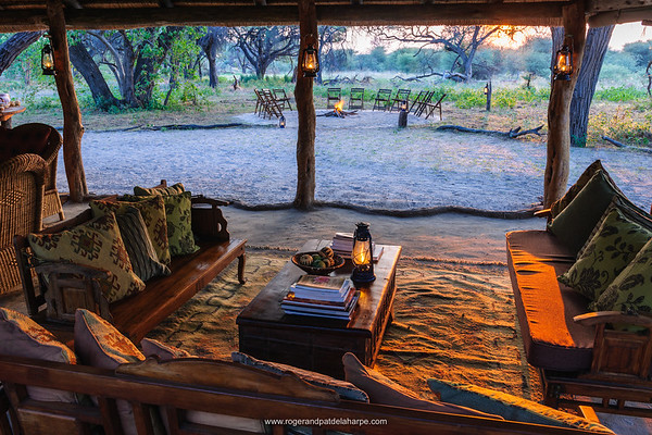 Lounge area. Sankuyo Bush Camp. Moremi Game Reserve. Botswana