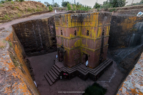 "Church of St. George (Amharic: Bete Giyorgis or Biet Giyorgis). It is among the best known and last built of the eleven Rock-Hewn Churches in the Lalibela area, and has been referred to as the ""Eighth Wonder of the World"". Lalibela. Ethiopia."