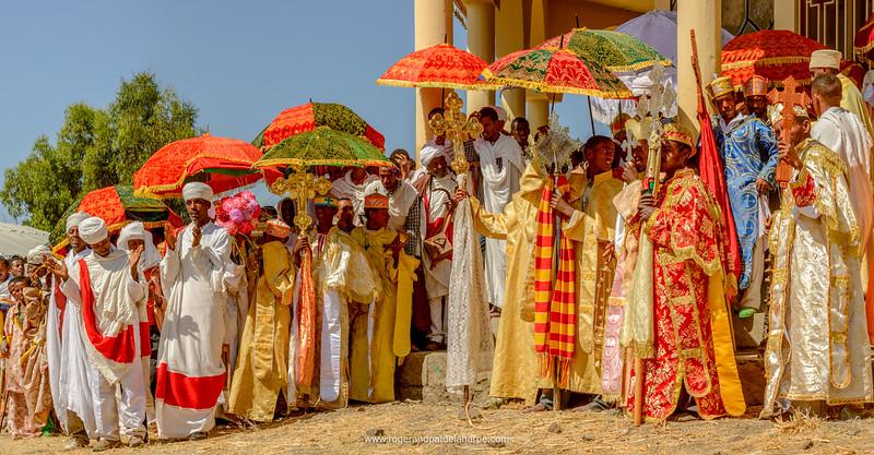 Christian religious ceremony at St. Neakutoleab Monestry near Lalibela. Ethiopia.