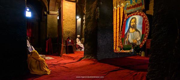 Bet (or Beit) Medhane Alem (House of the Saviour of the World). Rock-Hewn Church interior. Lalibela. Ethiopia.