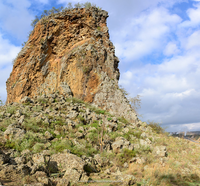 Central Tower, a volcanic plug. Hells Gate National Park. Naivasha. Great Rift Valley. Kenya