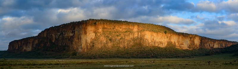 Scenic view of Columnar basalt cliffs. Hells Gate National Park. Naivasha. Great Rift Valley. Kenya