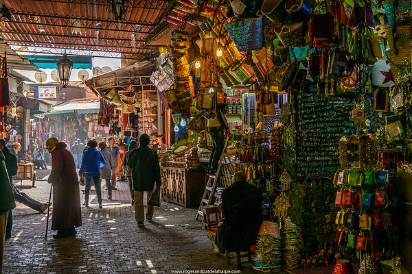 The Marrakesh Souk near the Jemaa el-Fnaa or Djemaa el Fna Square. Marrakesh or Marrakech. Morocco
