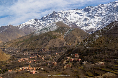 High Atlas Mountains showing Ber Ber (berber or Bier Bier) villages, Mosques and homes. Imlil. Morocco.