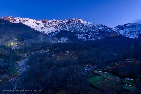 High Atlas Mountains showing Ber Ber (berber or Bier Bier) villages and homes. Imlil. Morocco.