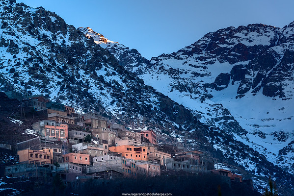 High Atlas Mountains showing Ber Ber (berber or Bier Bier) villages and homes. Imlil. Morocco.