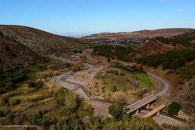 Rheraya wadi (river) view near Tahannaout or Tahnaout. Morocco
