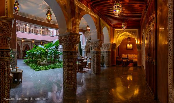 Courtyard at La Sultana Hotel. Marrakesh or Marrakech. Morocco