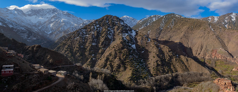High Atlas Mountains showing Ber Ber (berber or Bier Bier) villages and homes. Azzaden Valley. Morocco.