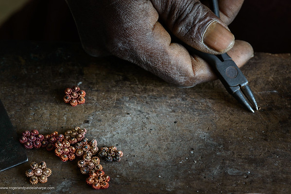 Detail of the jewellery creation process by Silversmith. Ibo Island. Mozambique