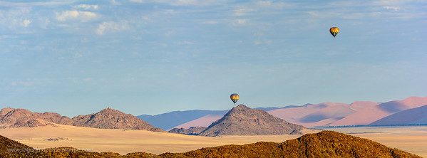 Desert scenery and hot air balloons Sossusvlei. Namib-Naukluft National Park. Namibia