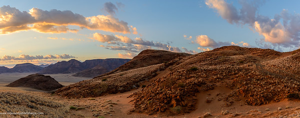 Desert scenery. Sossusvlei. Sunrise over the Naukluft Mountains. Namib-Naukluft National Park. Namibia