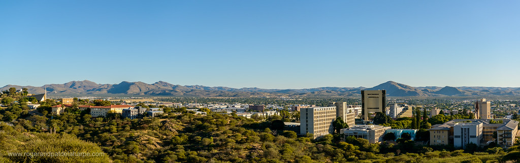 View over Windhoek from the Die Eiswaffel water tower. . Namibia