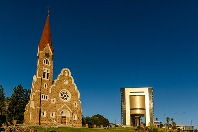 The Independence Memorial Museum and Christ Church (or Christuskirche). Windhoek. Namibia