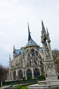 Notre Dame Cathedral on Ile de la Cite or City Island from Jardin Jean XXVIII. Paris. France