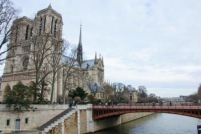 Notre Dame Cathedral on Ile de la Cite or City Island in the Seine River. Paris. France